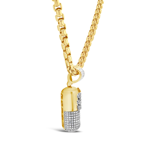 Diamond Pill Pendant .54 CTW Round Cut 10K Yellow Gold