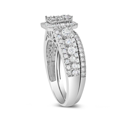 Diamond Halo Engagement Ring 1 CTW Round Cut 14K White Gold
