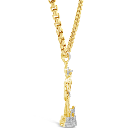 Diamond Jesus Pendant .5 CTW Round Cut 14K Yellow Gold