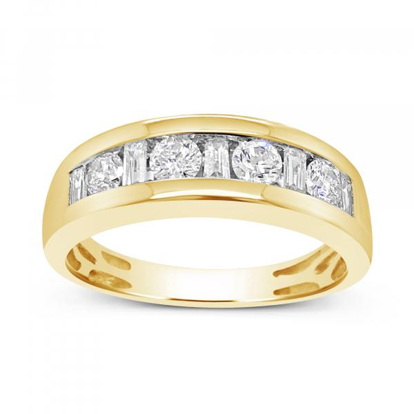 Diamond Ring 1.03CT tw Round w/ Baguettes 14K Yellow Gold