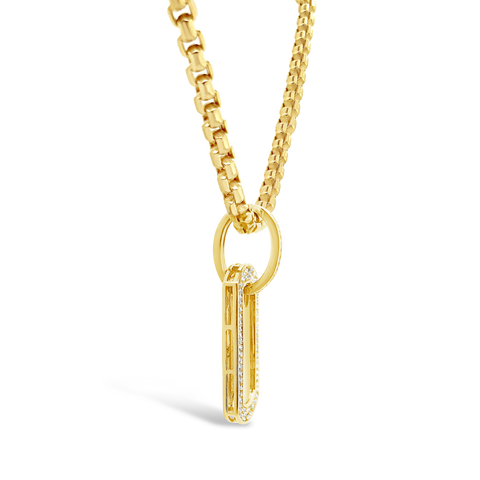 Diamond Dog Tag Pendant .27 CTW Round Cut 10K Yellow Gold