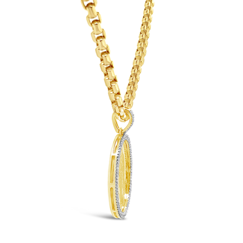 Diamond Virgin Mary Pendant .33 CTW Round Cut 10K Yellow Gold