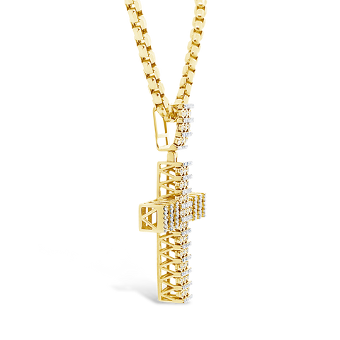 Diamond Cross Pendant .72 CTW Round Cut 10K Yellow Gold