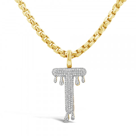 "Dripping Diamond ""T"" Pendant .42 CTW Round Cut 10K Yellow Gold"