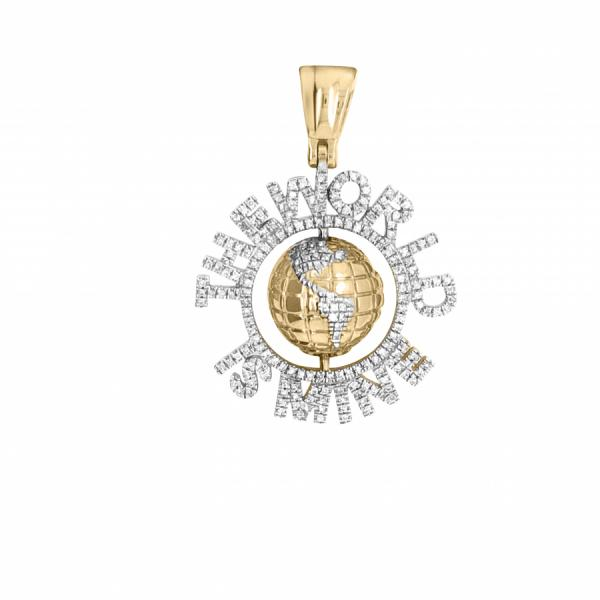 ".54ct Diamond Spinning ""The World is Yours"" Pendant"
