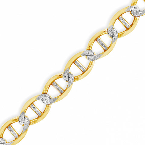 "10K Yellow Gold Two Tone Pave 7.5mm Mariner Anchor Link 22"" Chain"