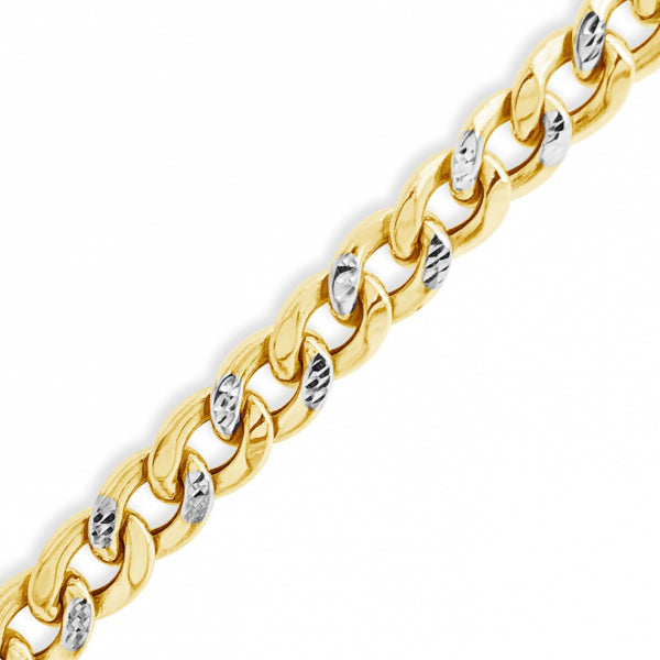"Reversable Two Tone Pave 10K Yellow Gold 10mm Hollow Miami Cuban 22"" Chain"
