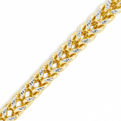 10K Two-Tone Semi Solid Yellow Gold Pave Franco Chain