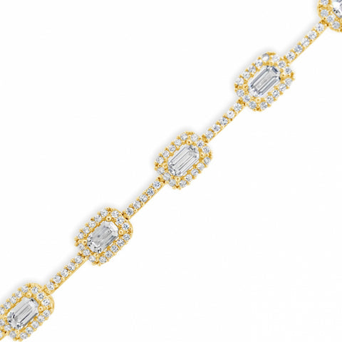 "10K Yellow Gold Bagguette & Round CZ 18"" Necklace"