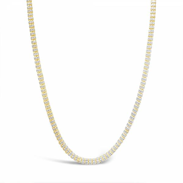 10K Yellow Gold  Two Tone Pave Barrel Moon Cut Chain