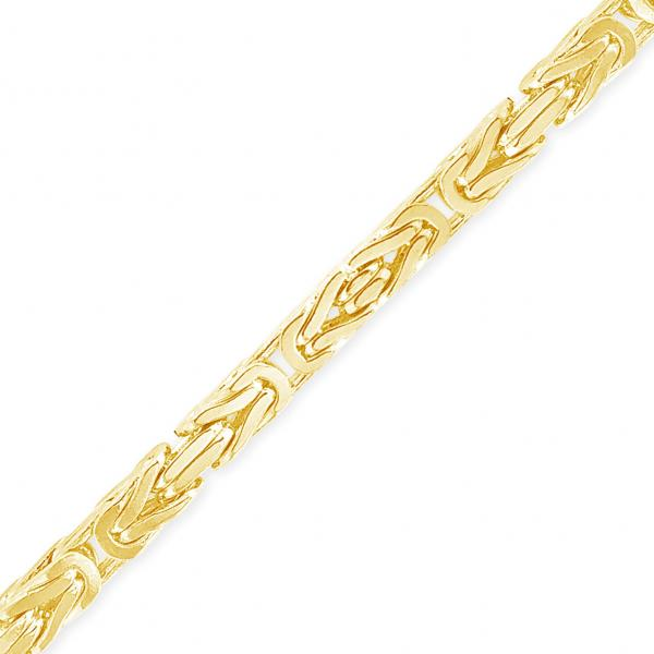 10K Solid Yellow Gold 3mm Byzantine Chain
