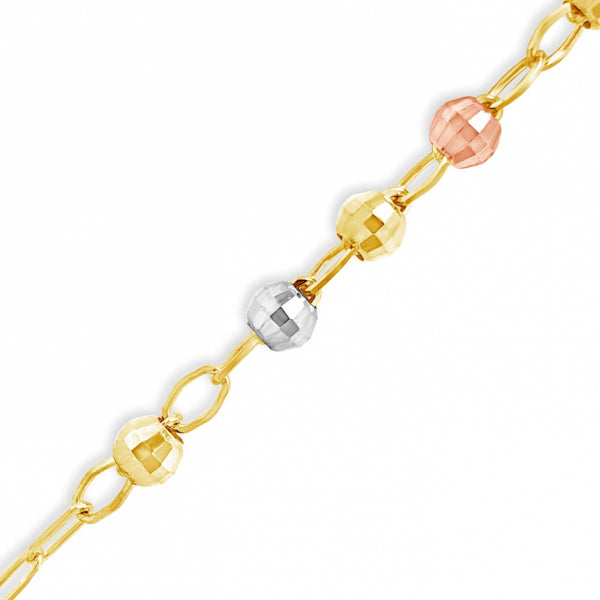 "10K Yellow Gold 4mm Tri Colored 22"" Rosary w/ Diamond cut Beads"