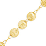 "10K Yellow Gold  24"" Rosary w/ Diamonds Cut Beads"