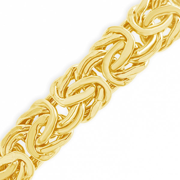 "10K Yellow Gold 10mm Flat Link Byzantine 18"" Necklace"