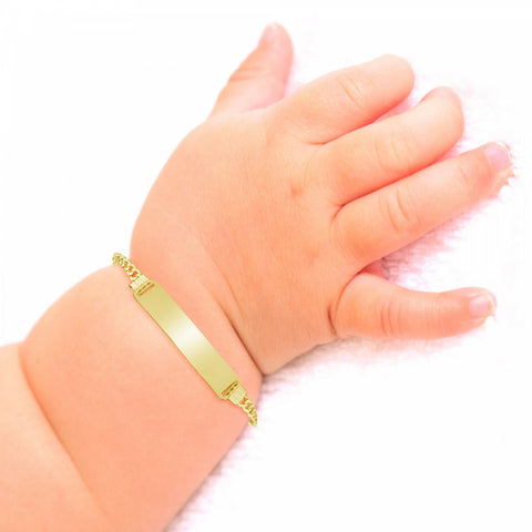 10K Yellow Gold Baby & Toddler Cuban Link ID Bracelet