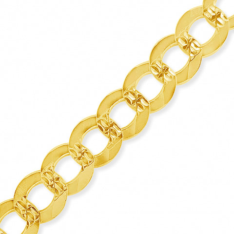 "10K Yellow Gold Solid  Cuban Link 20"" Chain w/ Diamond Cuts"