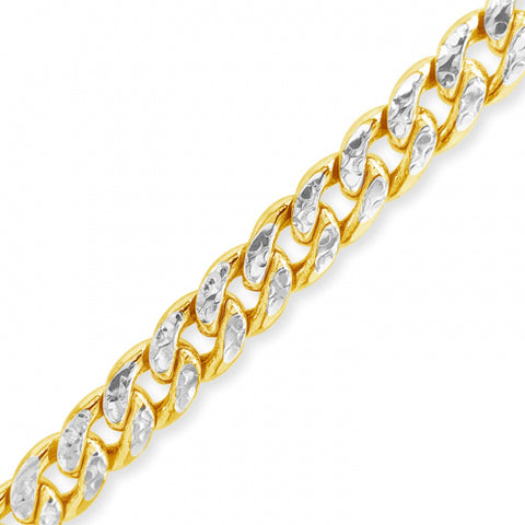 "Two-Tone Pave 10K Yellow Gold 7mm Miami Cuban 22"" Chain"