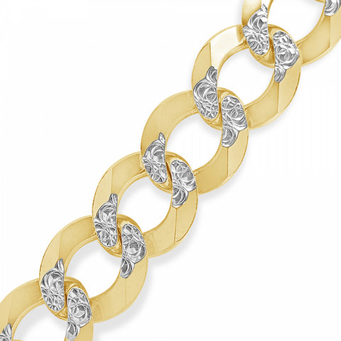 "10K Yellow Gold Two-Tone Solid  Pave Cuban Link 22"" Chain"