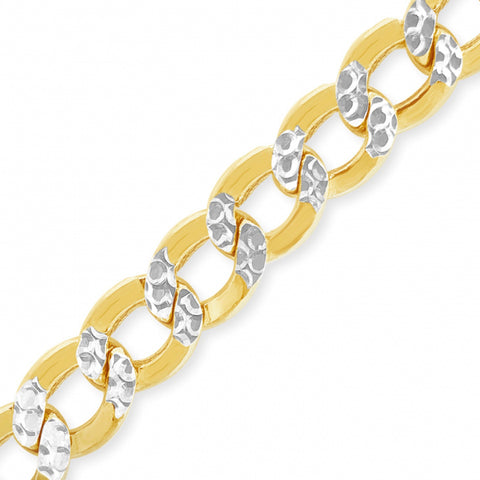 "10K Yellow Gold Hollow 9.5mm Pave Two Tone 22"" Cuban Link Chain"