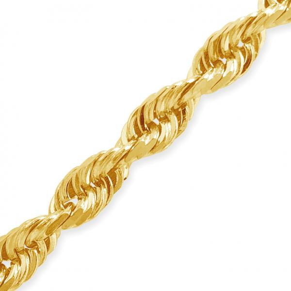 "10K Solid Yellow Gold 4.5mm 20"" Rope Chain w/ Diamond Cuts"