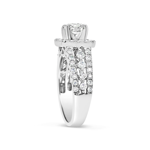 Diamond Halo Engagement Ring 2 CTW Cushion Cut center w/ Round Cut 14K White Gold