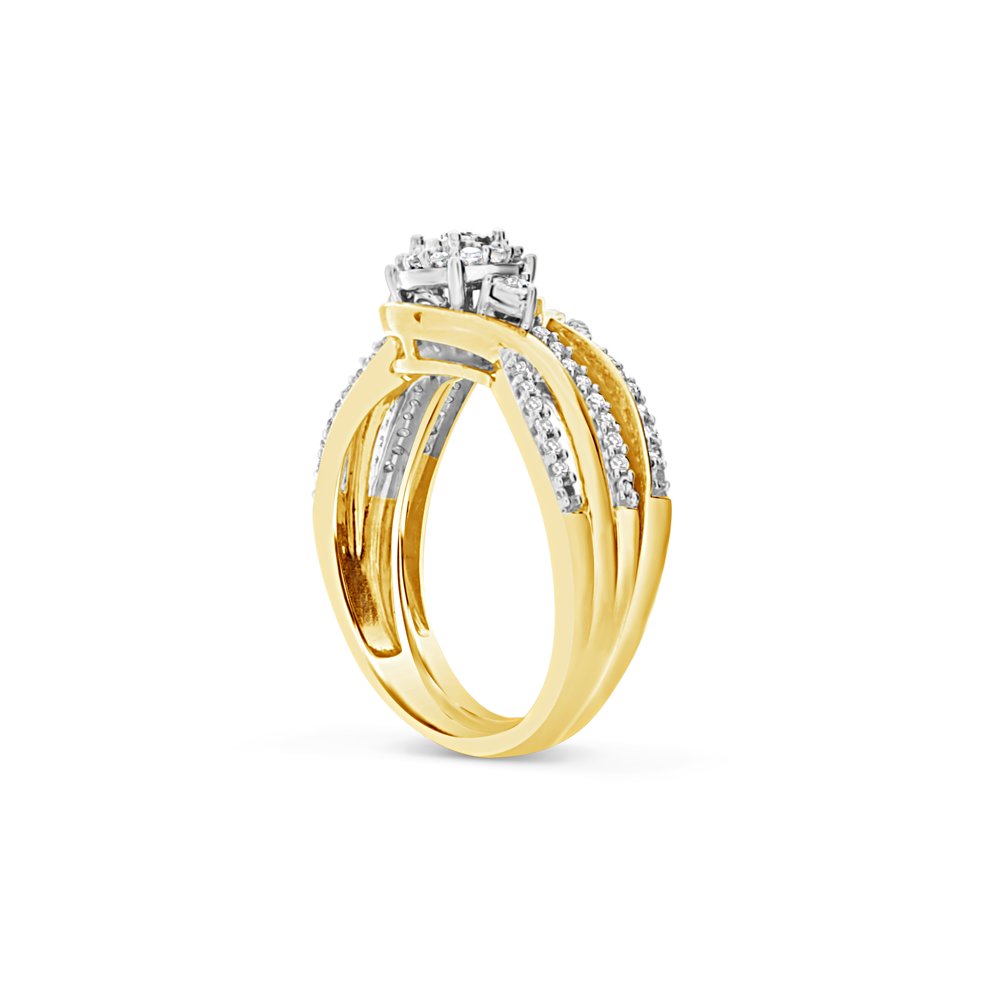 Diamond Halo Engagement Ring .33 CTW Round Cut 14K Yellow Gold