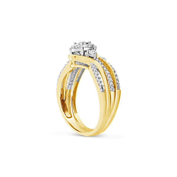Diamond Halo Engagement Ring .33CT tw Round Cut 14K Yellow Gold