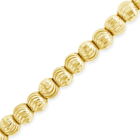 10K Solid Yellow Gold Moon Cut Chain
