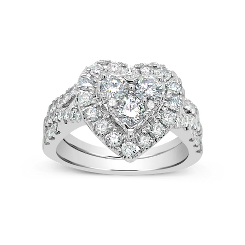 Diamond Halo Heart Shaped Engagement Ring 1.50 CTW Round Cut 14K White Gold