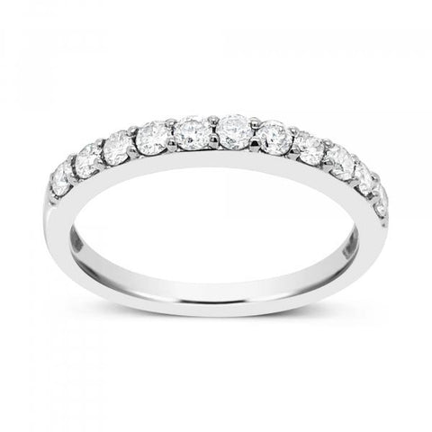 14K White Gold .50ct tw Round Cut Diamond Band