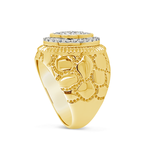 Diamond Nugget Ring 1 CTW Round Cut 10K Yellow Gold