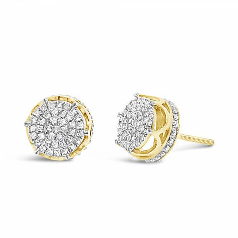 10K Yellow Gold .25ct Diamond Circle Earrings w/ Crown Detailing