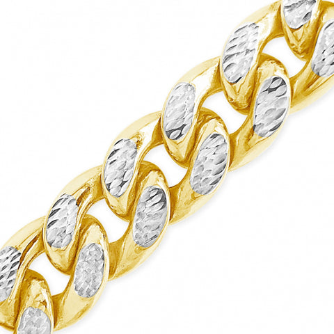 10K Hollow Yellow Gold Reversable Two Tone Pave Miami Cuban Chain