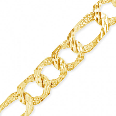 10K Yelllow Gold Lazor Cut Figaro Chain