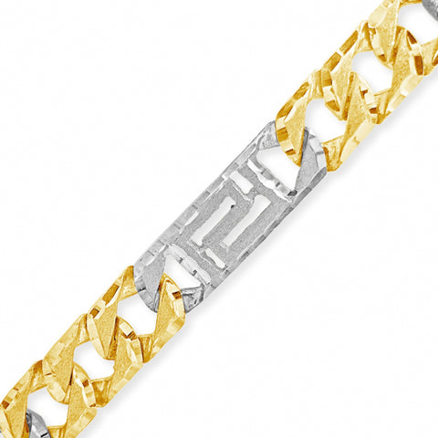 10K Yellow Gold  Cuban Link Chain w/ Greek Key Design