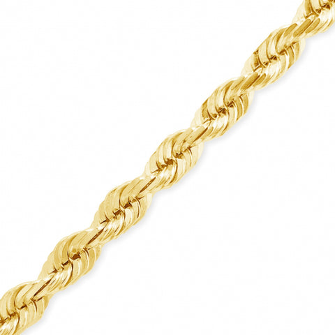"10K Yellow Gold Solid  22"" Rope Chain w/ Diamond Cuts"