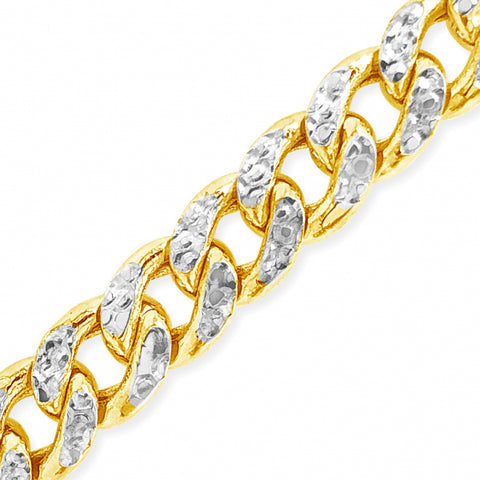"Two-Tone Pave 10K Yellow Gold 7.5 Hollow Miami Cuban 22"" Chain"