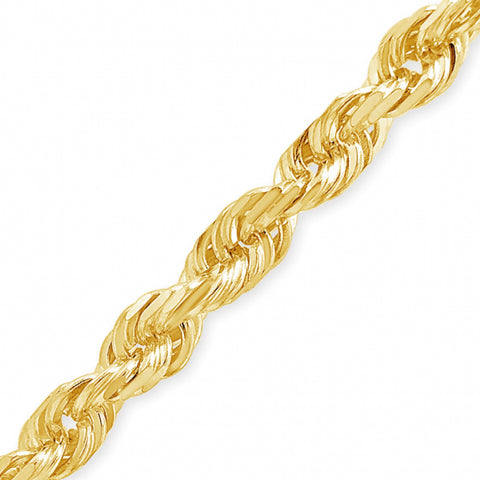 "10K Yellow Gold Solid  20"" Rope Chain w/ Diamond Cuts"