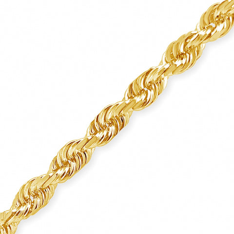 "10K Solid Yellow Gold 20"" Rope Chain w/ Diamond Cuts"