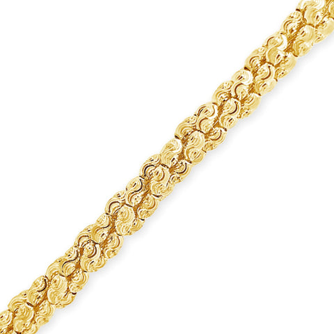 10K Yellow Gold  Barrel Link Moon Cut Chain