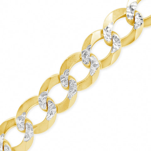 "10K Yellow Gold Solid Two-Tone  Pave Cuban Link 22"" Chain"
