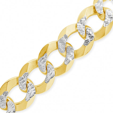 "10K Yellow Gold Two Tone Solid  Pave Cuban Link 22"" Chain"