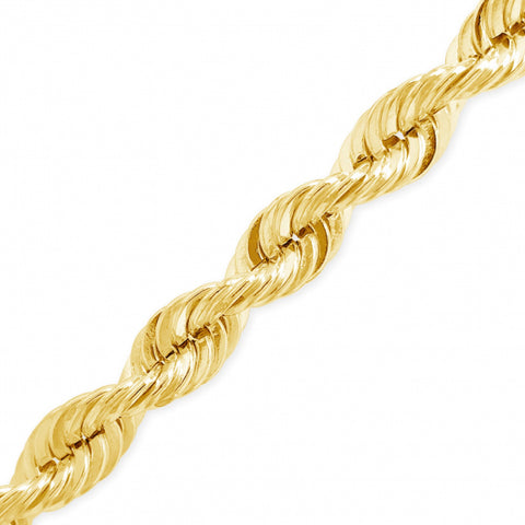 "10K Yellow Gold Hollow  Murray Design 20"" Rope Chain w/ Diamond Cuts"