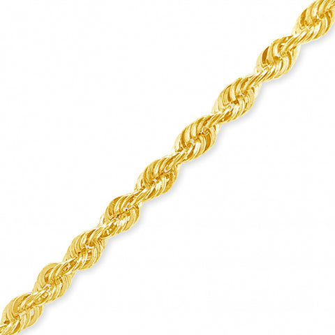 "10K Yellow Gold Hollow  Murray Design 24"" Rope Chain w/ Diamond Cuts"