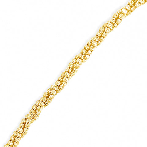 10K Yellow Gold  3 Row Moon Cut Chain