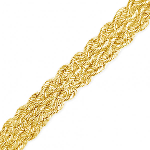 10K Hollow Yellow Gold  Row Rope Chain