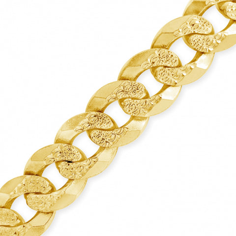 10K Solid Yellow Gold LazerCut Round Cuban link Chain