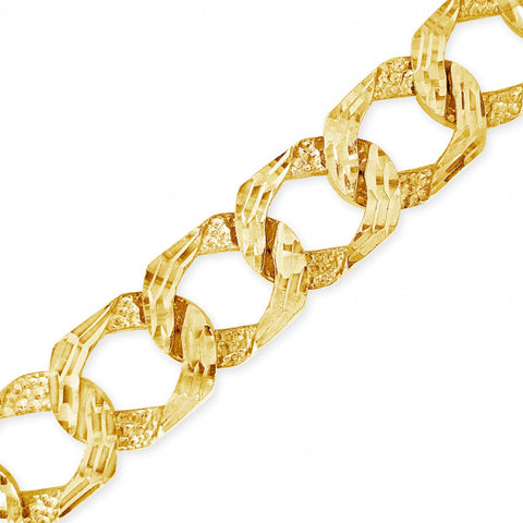10K Solid Yellow Gold LazorCut Square Cuban Chain