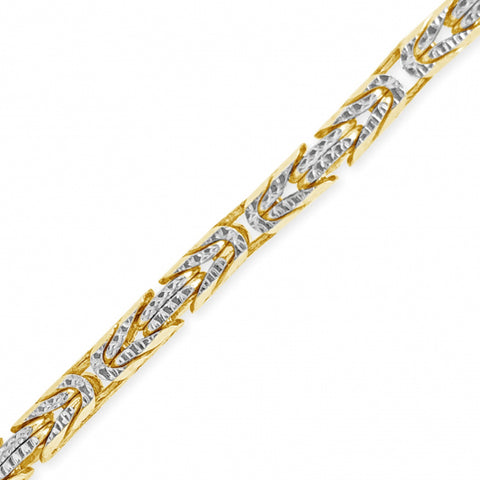 10K Solid Yellow Gold Pave Byzantine Chain