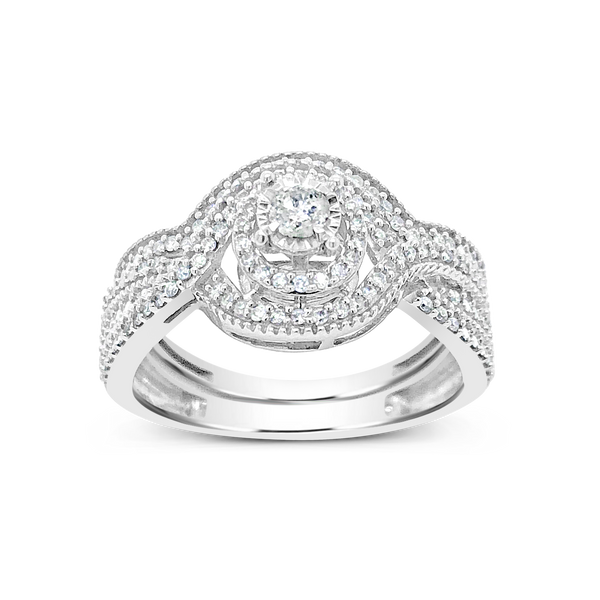 Diamond Halo Engagement Ring .33CT tw Round Cut 10K White Gold